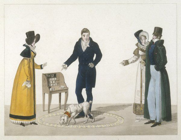 Man: double-breasted cut-away coat, pantaloons, top hat & green overcoat with stand-fall collar. Women: white dresses with decorative hemlines, tall crowned hats, ruffs & pelisses