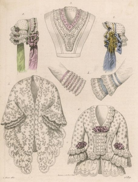Items of Lingerie: embroidered casaque (jacket) & mantlet with scallop edges; 2 lace caps; chemisette; the cuffs of 2 undersleeves trimmed with ribbon & volans