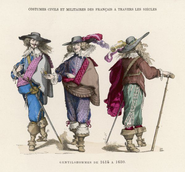 French 'gentilshommes' dressed in the height of male fashion