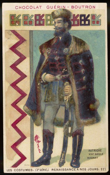An Austrian baron in warm outdoor clothing with fur- trimmed cloak and strong boots; he carries a heavy sword