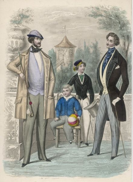 Boys: trousers, tasselled cap, short fitted jackets one with braiding. Men:1/2 length sac coat, pinched waists, waistcoats with a deep 'V' opening & strapped trousers