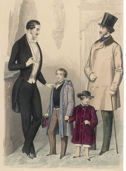 Evening dress; a sac overcoat or wrapper & window-pane check trousers; bowler style hat, short trousers, red velvet coat, forage cap, wrapper with hood & soutache trim