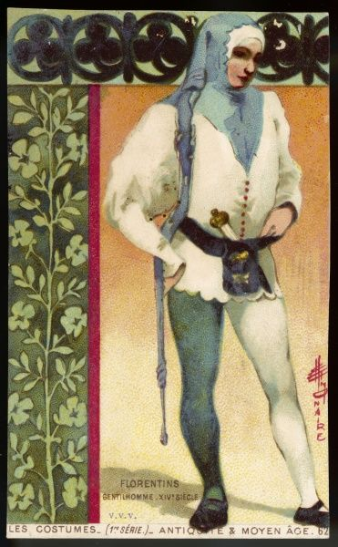 A well-to-do Florentine gentleman in two-tone blue and white tunic and hose, with a dagger and moneybag at his belt