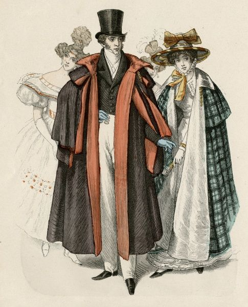 Top hat, white cravat, waistcoat & strapped pantaloons, black single- breasted coat cut-away at the front, heavy black cloak with multiple capes. Date: late 1820s