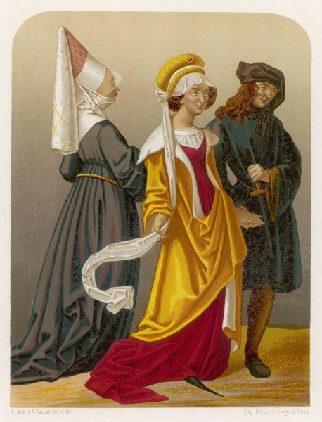 Two women and a man in medieval dress (probably Dutch)
