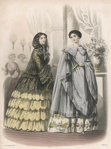 Gowns by Monsieur Gagelin. A Spanish style manteau or cloak of lace with a ?hood is worn by one lady while her companion sports a grey 3/4 length manteau