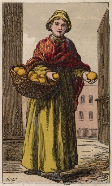 A London orange seller in stout boots, plain unadorned dress, red shawl & cotton cap or bonnet