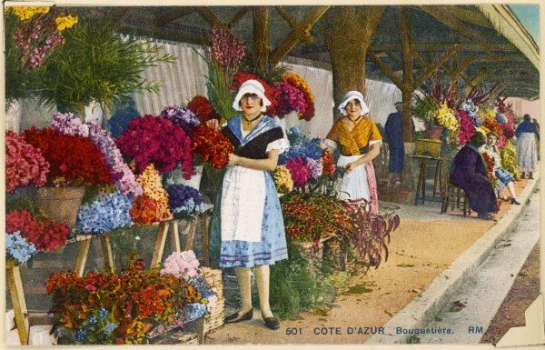 A girl on a flower market on the Cote d'Azur