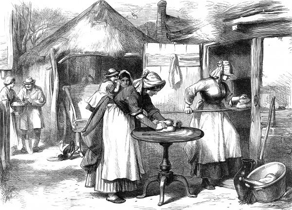Illustration from 1872 showing a scene in a Warwickshire village with women baking bread. Small rural communities would often have only one bread oven which would be fired up on specific days to bake everyone's bread