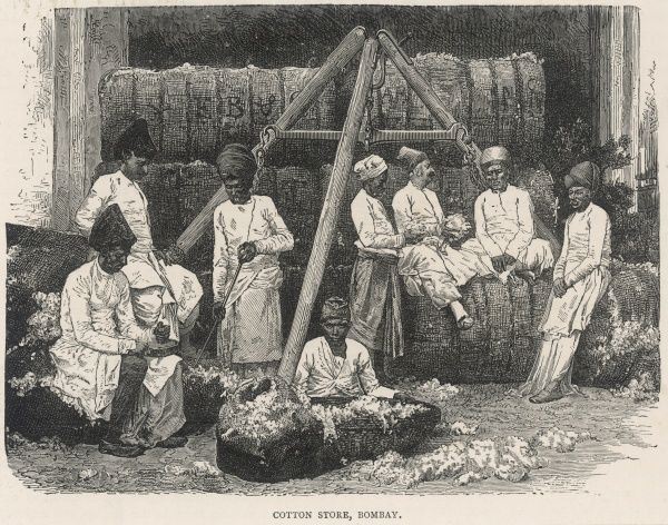 A group of Indian cotton workers relax amongst the cotton bales