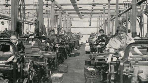 Women operating cotton weaving looms at the works of Messrs Horrockses, Crewdson and Co Ltd of Preston, Lancashire