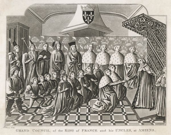 Twelve-year old Charles VI holds a council at Amiens, assisted by his guardians the ducs of Bourbon, Anjou, Berry and Bourgogne
