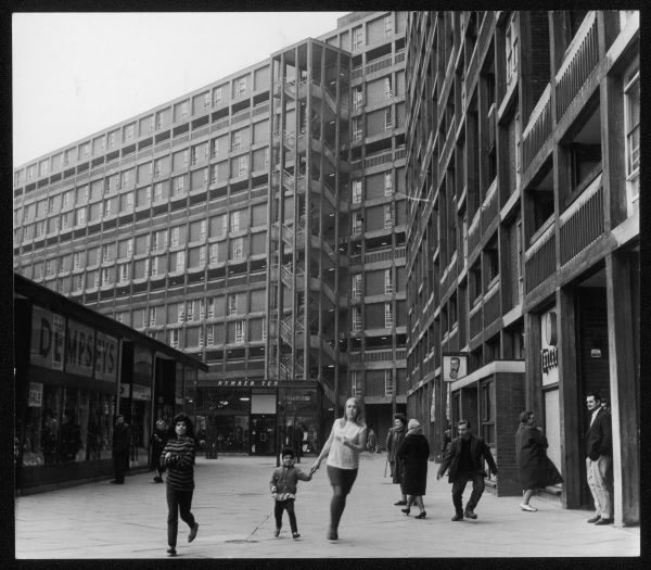 Parkhill council estate in Sheffield: people walking and browsing the few shops