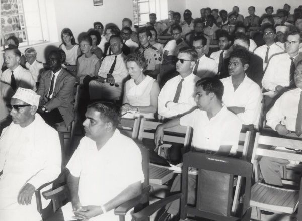Members of the Council of the South Arabian Boy Scouts Association sitting in the audience at the Annual General Meeting in Aden, Yemen