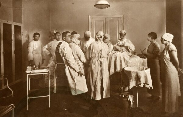 An operation in progress at the Count Albert Apponyi Polyclinic in Budapest - named after Count Albert Apponyi de Nagyappony (1846 - 1933), a distinguished Hungarian nobleman and politician