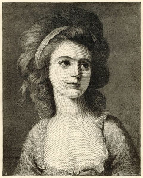 Engraving after a portrait of Countess Potocka by Angelica Kauffman reproduced in The Illustrated London News