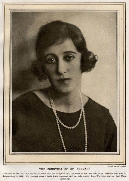 Lady Blanche Linnie Somerset (18971968), married John Eliot, 6th Earl of St Germans who died in a riding accident during a steeplechase in 1922 aged 31. In 1924 she married George Francis Valentine Scott Douglas who died from a polo injury in 1930