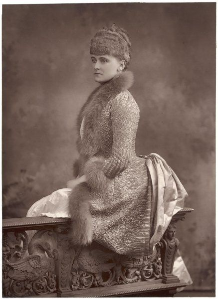 Frances Evelyn 'Daisy' Greville, Countess of Warwick, here as Lady Brooke in a brocade fur-trimmed gown