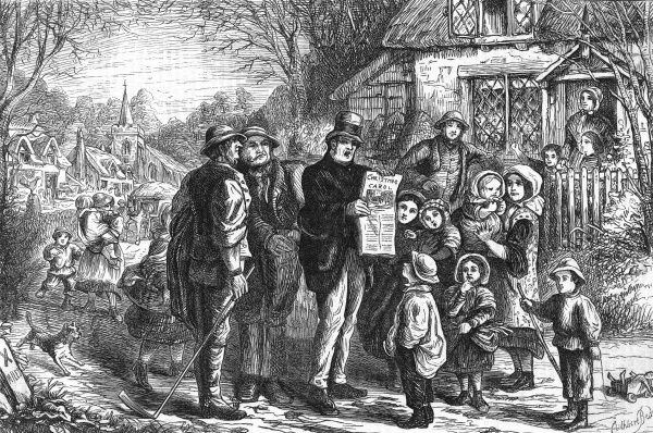 The country carol-seller attracts the villagers Date: 1869