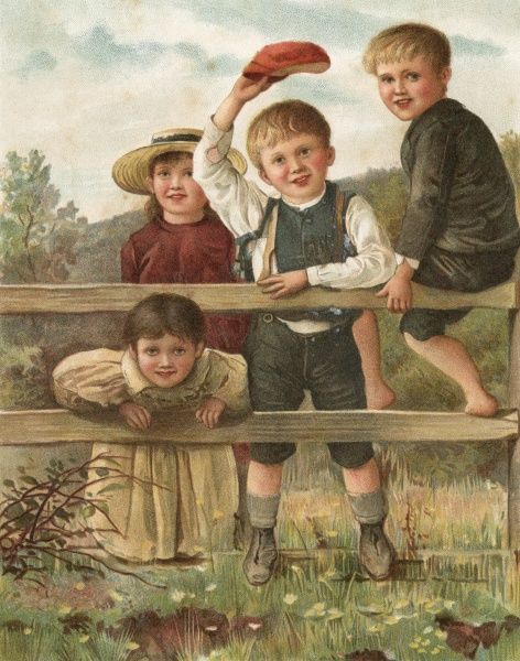 Four children in the country, watching a train go by. Date: 1894