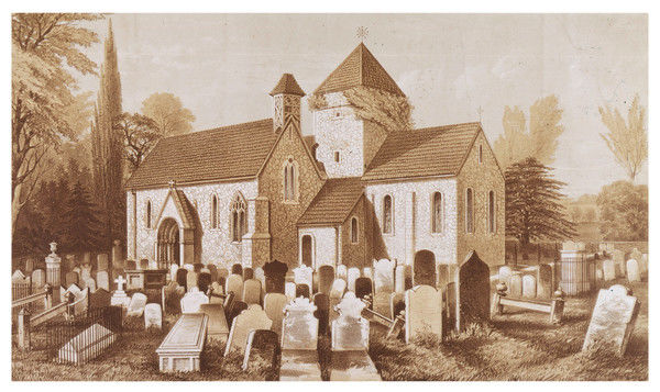 Upton Old Church: exterior view of the church, from across the churchyard. Date: 19th century