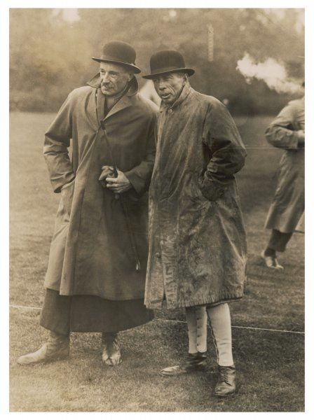 Fernie Hunt horse show, Market Harborough: Lord Stallbridge, Master of Hounds (left) & friend wear bowler hats, gaiters & water-proof coats