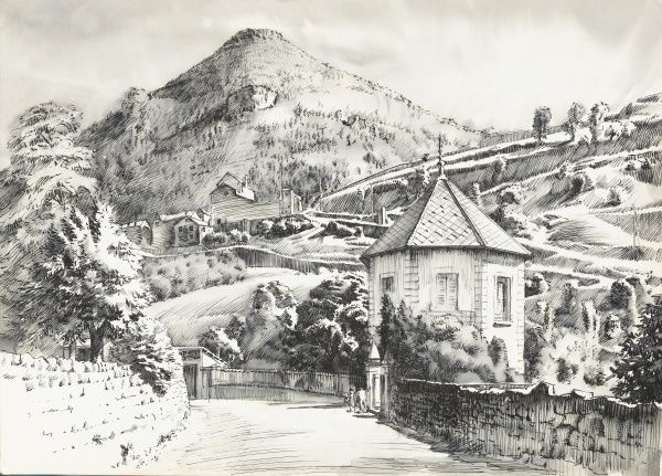 A country lane flanked by stone walls, winds upwards past an interesting octagonal building toward a distant peak. Pen & ink drawing by Raymond Sheppard
