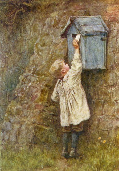 A boy stretches to post a letter in the box at Bowler's Green, Surrey : this was before all letter-boxes were painted red