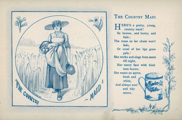 The Country Maid: A pretty country maid walks through a field carrying a basket of eggs and a jug of milk