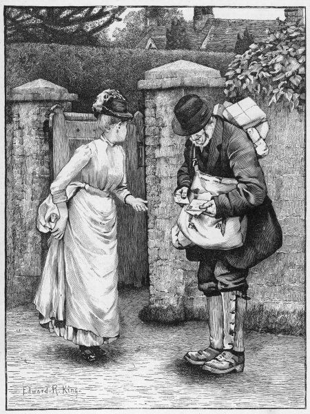 An English country postman with a letter for the daughter of the house which she'd rather Mama didn't see
