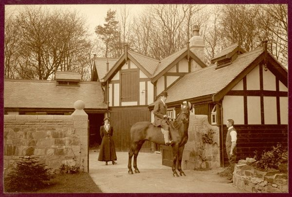 The stables at Bothamstall Hall, near Retford, Nottinghamshire, home of the Clegg family, one of whom is doubtless the man on the horse talking to the groom