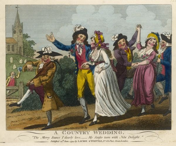 A COUNTRY WEDDING - the fiddler leads the way as the cheerful wedding procession dance down a country lane. Date: 1794