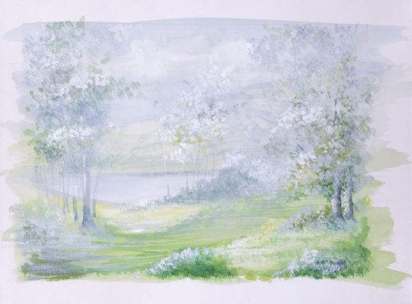 A late Spring / Summer countryside scene with impressionist overtones as the light floods through the soft leaves and blossoms. Watercolour painting by Malcolm Greensmith