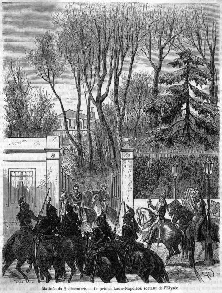 On the morning of 2 December, Louis Napoleon leaves the Palais de l'Elysee with a military escort