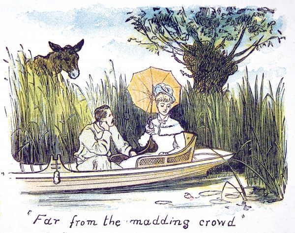 Illustration showing a young couple, boating on the River Thames, enjoying a quiet moment among the long grasses of the river bank. This image, produced in the summer of 1879, was originally entitled 'Far from the madding crowd&#39