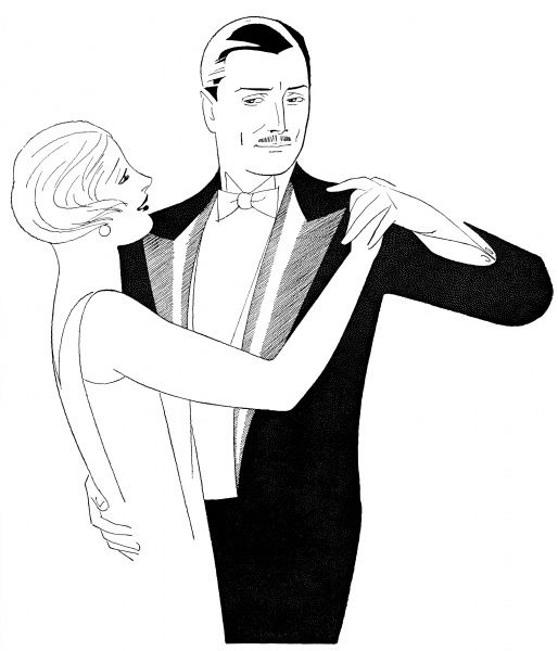 A couple in evening dress dancing. Date: 1926