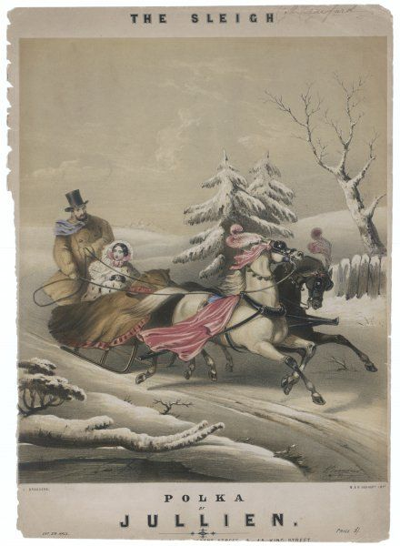 A couple go sleighing through the wintry snow