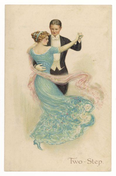 A smartly dressed couple dance the two-step