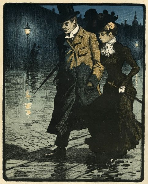A couple walk through the wet streets. Date: 1901