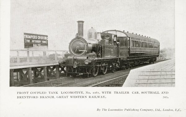 Front coupled tank locomotive no 1165, with trailer car, Southall and Brentford Branch Date