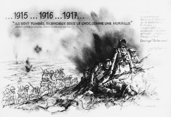 A morale-boosting message from General Petain at Verdun, urging courage as the war drags