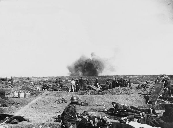 A German shell bursts near an advanced dressing station at Courcelette during the Battle of the Somme