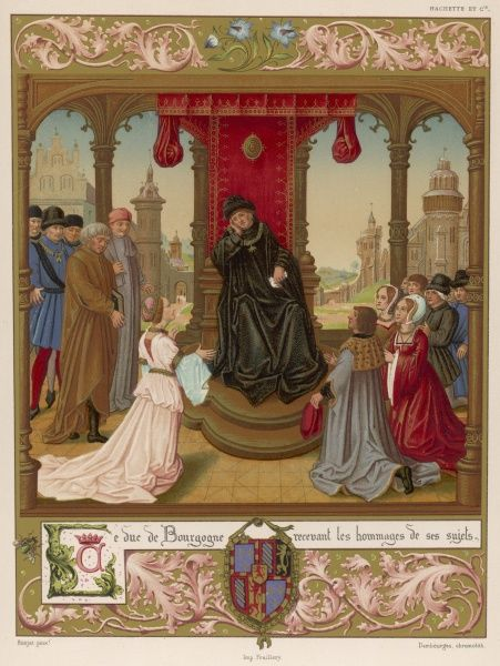 At his court, Philippe le Bon, duc de Bourgogne, receives the homage of his subjects but doesn't seem very excited by them
