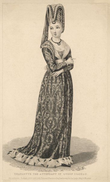 Charlotte, the attendant of queen Isabeau de Baviere, wears a low-necked high- waisted ermine- trimmed gown and a tall hat