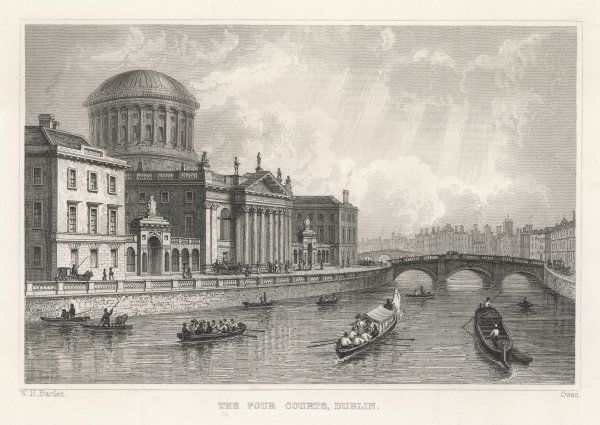 Dublin: the Four (Law) Courts, seen from the river