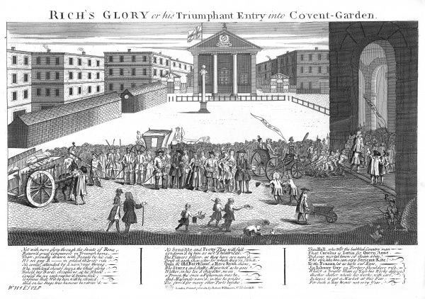 Covent Garden Theatre is built for John Rich, pantomimist and harlequin : the print depicts him making his triumphal entry into the theatre at its opening. Date: 1732