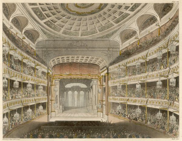 This is the 'new' theatre, built after the disastrous fire of 1808 ; designed by Robert Smirke, it was the scene of riots when audiences complained of price increases