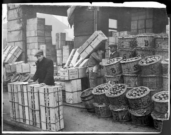 COVENT GARDEN Early morning; a 21 year-old chap (Alfred John Lewis) in a flat cap, stands surrounded by baskets and crates of apples, fruit and vegetables