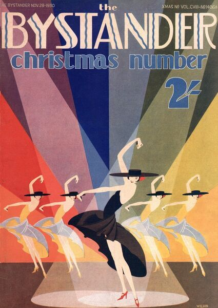 Front cover illustration by Wilson for The Bystander Christmas cover 1930 showing Spanish style dancers in the stage spotlight, against an art deco style rainbow backdrop