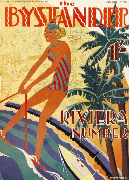 Stylised front cover design for The Bystander Riviera number showing a woman in a swimsuit water-skiiing